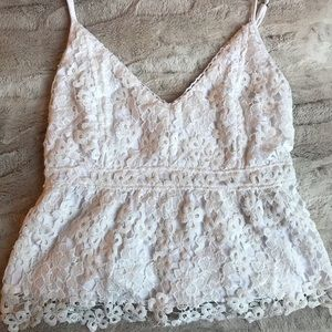 abercrombie & fitch white lace tank